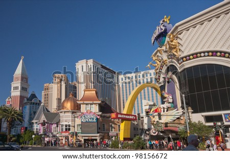 LAS VEGAS, NEVADA - APRIL 12: Venetian, Casino Royale and Harrah's hotels at central part of Strip in Las Vegas on April 12, 2011. 19 of the world's 25 largest hotels are on this strip. - stock photo