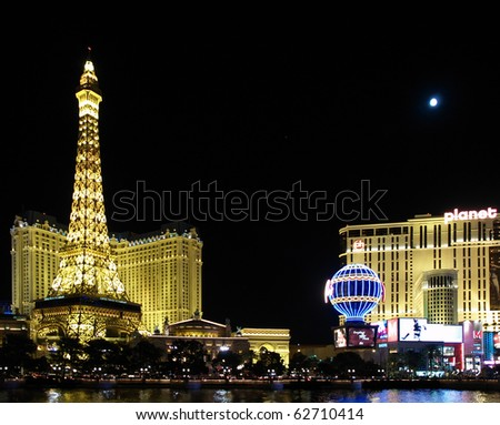 LAS VEGAS, NEVADA - AUGUST 8: Landmarks entertain tourists on a warm desert night, on August 8, 2009 in Las Vegas, Nevada.