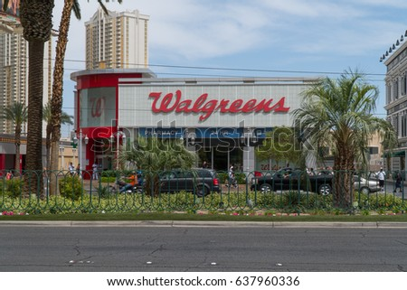 Las Vegas, Nevada - Circa 2017: Walgreens retail pharmacy health store in America location. Specializes in filling prescriptions, health and wellness products, health information, and photo services