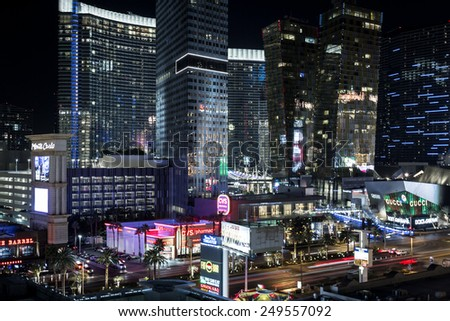 Las Vegas Nevada - December 18 : Architecture and lights of the Aria resort and casino viewed at night, December 18 2014 in Las Vegas, Nevada - stock photo