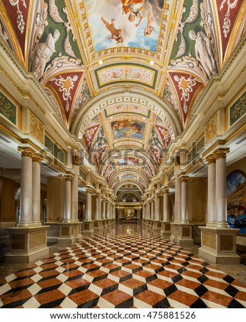LAS VEGAS, NEVADA - JULY 21: Entrance Hall of the Venetian Hotel on Las Vegas Blvd on July 21, 2016 in Las Vegas, Nevada