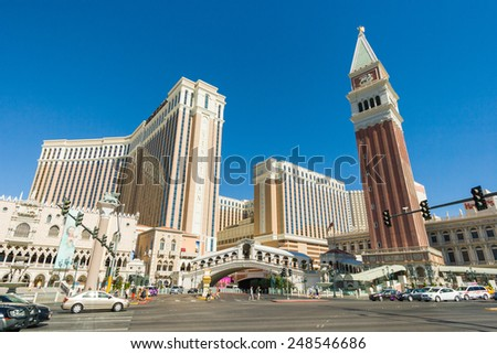 LAS VEGAS, NEVADA - JUN 22: World famous Vegas Strip in Las Vegas, Nevada as seen on June 22, 2012. Stretching 4.2 miles, the Strip is home to the largest hotels and casinos in the world - stock photo