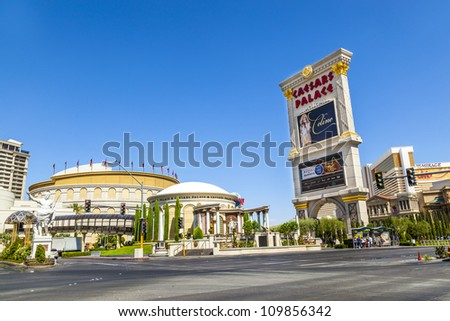 LAS VEGAS, NEVADA - JUNE 15: Caesar's Palace on the Vegas Strip in Las Vegas, Nevada on June 15, 2012. This world class hotel opened in 1966, continues to expand and currently has six towers. - stock photo