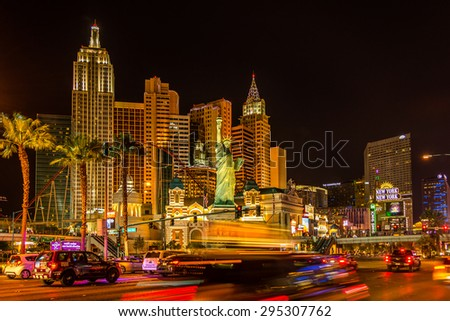 LAS VEGAS, NEVADA - JUNE 3,2015 - In the streets of Las Vegas. Las Vegas was established in 1905. Las Vegas was incorporated as a city in 1911.