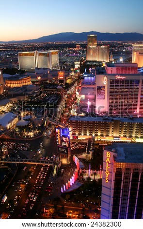 "LAS VEGAS, Nevada - June 7 2008: Las Vegas Boulevard or ""The Strip"" is approx four miles long but only a small portion of it lies in Las Vegas. Eighteen of the world's largest hotels are on ""The Strip."" - stock photo"