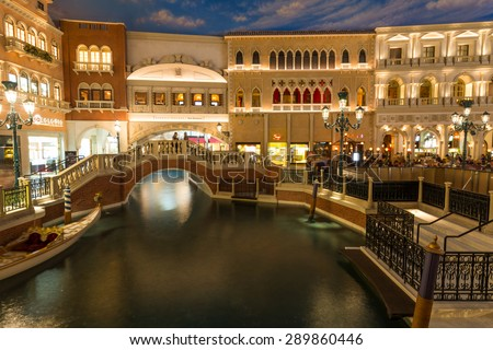 LAS VEGAS, NEVADA - JUNE 18, 2015. Venetian hotel interior. Water channel in the St.Mark square at night.