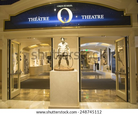 LAS VEGAS, NEVADA - MAY 9, 2014: Entrance to O Theatre by Cirque du Soleil at the Bellagio hotel in Las Vegas. O is a Cirque du Soleil stage production written and directed by Franco Dragone - stock photo