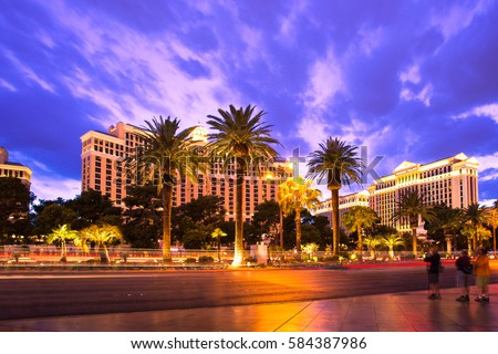 LAS VEGAS, NEVADA - MAY 7, 2014: Night view of Caesars Palace just after sunset seen from Las Vegas Boulevard.
