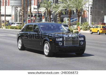LAS VEGAS, NEVADA - MAY 9, 2014: Rolls-Royce Wraith Top Class Sedan on Las Vegas Strip - stock photo