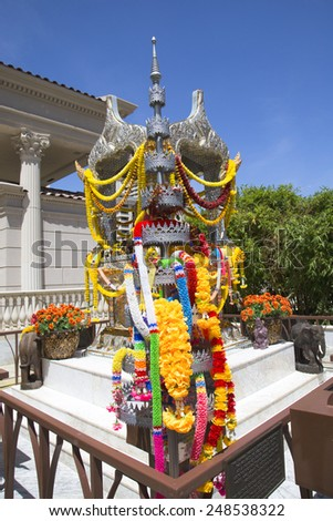 LAS VEGAS, NEVADA - MAY 9, 2014: The Shrine of the Four Faced Brahma in the front of Caesars Palace Las Vegas Hotel & Casino
