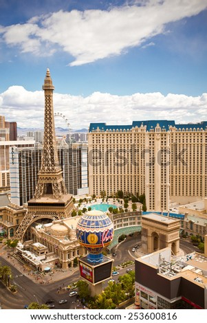 LAS VEGAS, NEVADA - MAY 7, 2014:  View of Las Vegas Strip hotels and casinos including Paris Las Vegas - stock photo
