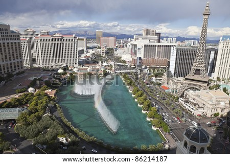 LAS VEGAS, NEVADA - OCT 6: Bellagio, Caesars Palace, Paris and other resorts on the strip on October 6, 2011 in Las Vegas, Nevada. Vegas has 147,611 hotel rooms with a average daily rate of $106. - stock photo