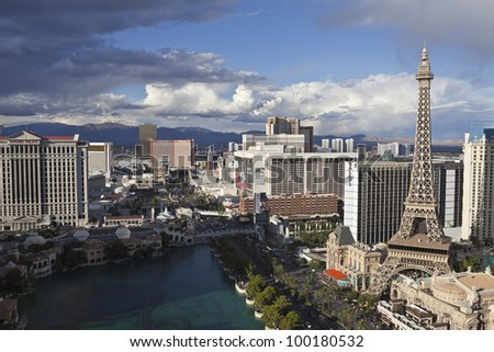 LAS VEGAS, NEVADA - OCT 6: Paris, Flamingo and other resorts on the strip. Vegas has 147,611 hotel rooms with a average daily rate of $106 on October 6, 2011 in Las Vegas, Nevada. - stock photo