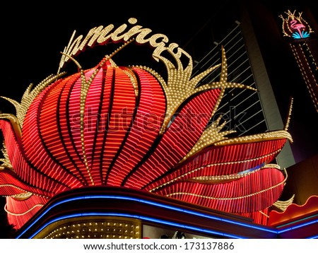 Las Vegas, Nevada-October 28, 2011: Corner view of the Flamingo Hotel in Las Vegas, Nevada.
