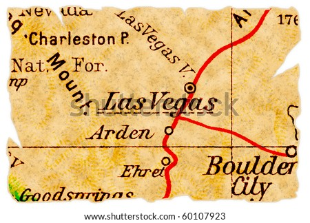 Las Vegas, Nevada on an old torn map from 1949, isolated. Part of the old map series. - stock photo