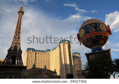 Las Vegas, Nevada - Replica of Eiffel Tower at the Paris Hotel - stock photo