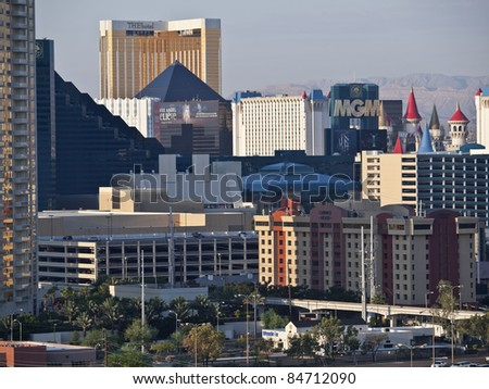 LAS VEGAS, NEVADA - SEPT 7: Luxor, MGM, Excalibur and The Hotel on the strip. Vegas has 147,611 hotel rooms with a average daily rate of $106 on September 7, 2011 in Las Vegas, Nevada. - stock photo