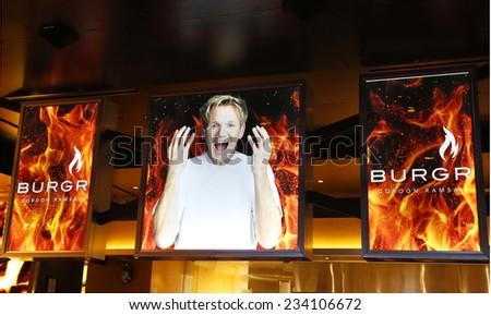 LAS VEGAS, NEVADA - SEPTEMBER 25: Entrance to Gordon Ramsay BurGR Restaurant at  Planet Hollywood Resort and Casino in Las Vegas on September 25, 2014 - stock photo