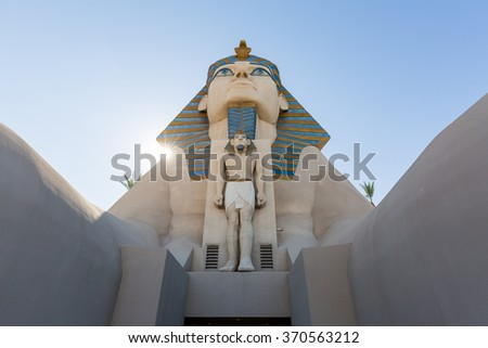 LAS VEGAS, NEVADA - SEPTEMBER 8: Exterior views of the Luxor Casino on the Las Vegas Strip on September 8, 2015. The Luxor Casino is a famous and popular luxury casino in Vegas. - stock photo