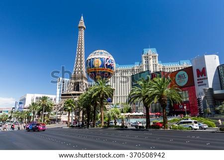 LAS VEGAS, NEVADA - SEPTEMBER 8: Exterior views of the Paris Casino Resort on the Las Vegas Strip on September 8, 2015. The Paris Casino Resort is a famous and popular luxury casino in Vegas. - stock photo