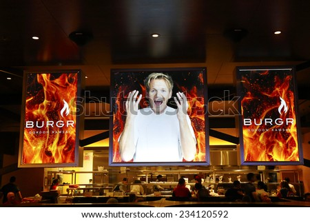 LAS VEGAS, NEVADA - SEPTEMBER 25: Inside of the  Gordon Ramsay BurGR Restaurant at Planet Hollywood Resort and Casino in Las Vegas on September 25, 2014 - stock photo
