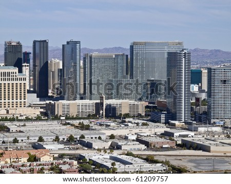 LAS VEGAS, NEVADA - SEPTEMBER 12:  Newly opened mega development City Center dramatically modernizes the skyline on Sept. 12, 2010 in Las Vegas, Nevada. - stock photo