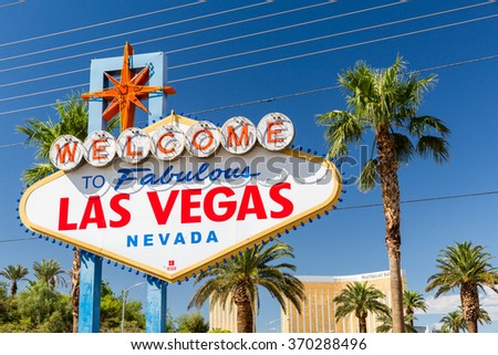 LAS VEGAS, NEVADA - SEPTEMBER 8: Views of the Welcome to Fabulous Vegas sign at the main boulevard on September 8, 2015. This sign is popular by tourist for taking pictures. - stock photo