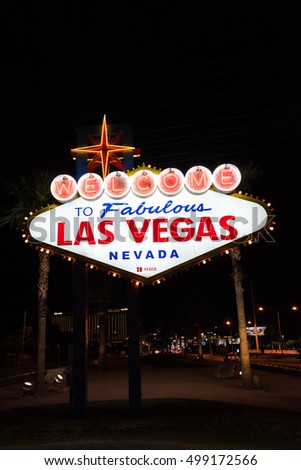 LAS VEGAS, NEVADA - SEPTEMBER 27, 2016: Welcome to Fabulous Las Vegas Nevada neon sign