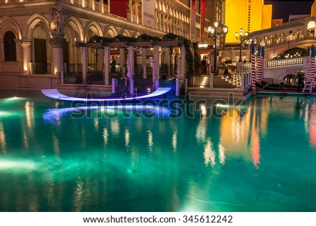 LAS VEGAS, NEVADA/UNITED STATES - November 5, 2015: The Venetian by Las Vegas Strip on November 5, 2015 in Las Vegas.