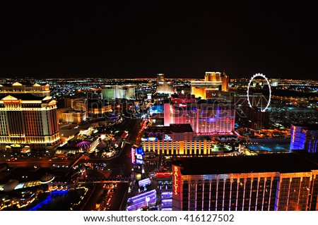 LAS VEGAS, NEVADA, USA - APRIL 22, 2015: Aerial view of Strip, stretch of 4.2 miles at Las Vegas Boulevard, the main street and home of the largest hotels and casinos on April 22, 2015 in Las Vegas. - stock photo