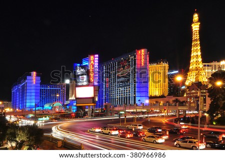 LAS VEGAS, NEVADA, USA - APRIL 16, 2014 : Bally's Las Vegas, formerly the MGM Grand Hotel and Casino, is a hotel and casino on the Las Vegas Strip in Paradise, Nevada. - stock photo