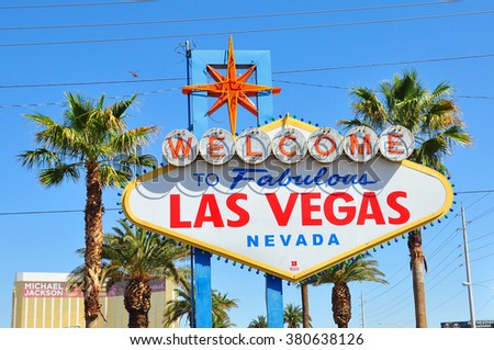 LAS VEGAS NEVADA USA - APRIL 16, 2014 : The Welcome to Fabulous Las Vegas sign is a Las Vegas landmark funded in May 1959 and erected soon after by Western Neon. The sign was designed by Betty Willis. - stock photo