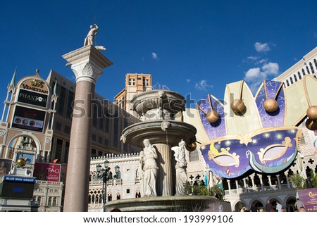 LAS VEGAS,NEVADA,USA-AUGUST 12,2012:las vegas city on day time.view of the Venetian hotel and casino. - stock photo