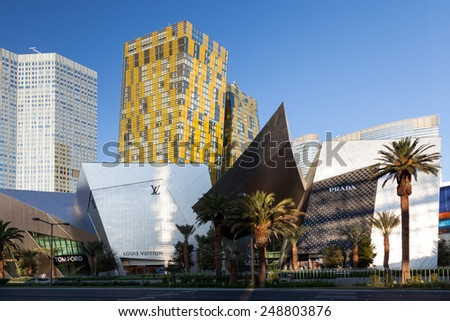 LAs VEGAS, NEVADA/USA - AUGUST 1 ; View at sunrise of PRADA and other famous shops in Las Vegas Nevada on August 1, 2011 - stock photo