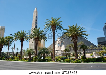LAS VEGAS, NEVADA, USA - CIRCA APRIL 2011: Luxor Las Vegas. Located on the Las Vegas Strip, it includes an obelisk, a re-creation of the Great Sphinx of Giza and a pyramid - stock photo