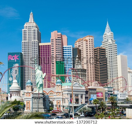 LAS VEGAS, NEVADA, USA - CIRCA APRIL 2011: New York - New York Hotel & Casino. This hotel and casino located on the Las Vegas Strip, owned by MGM Resorts International - stock photo