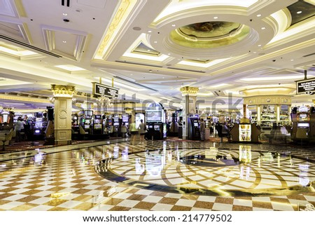 LAS VEGAS, NEVADA, USA - CIRCA JAN 2014: Cassino in the Belaggio Hotel in Las Vegas. Bellagio is one of the most luxurious hotels in Las Vegas - stock photo