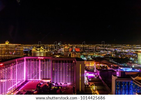 LAS VEGAS, NEVADA, USA - DECEMBER 20: View of the night Las Vegas from the Ferris wheel High Rollers in the evening after playing in the casino.