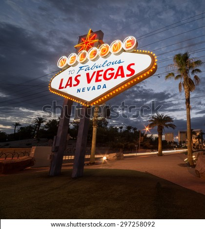 Las Vegas, Nevada USA -  July 2014. Iconic Las Vegas welcome sign, located on The Las Vegas Strip in Las Vegas, Nevada