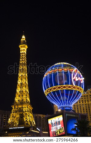 Las Vegas, Nevada, USA  July 1: The Eiffel Tower at Paris Las Vegas Hotel on the Strip in Las Vegas, Nevada on July 1, 2014. Paris Hotel is French-themed casino hotel on the Strip.