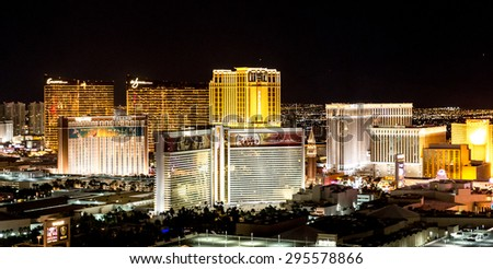 LAS VEGAS, NEVADA, USA - MAY 27:  Las Vegas skyline on May 27, 2015 in Las Vegas, Nevada,USA.  - stock photo