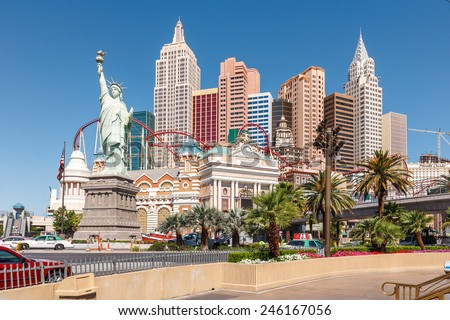 LAS VEGAS, NEVADA, USA -  16 May 2008: New York - New York Hotel and Casino. Replica of the Statue of Liberty is 150 ft (46 m - stock photo