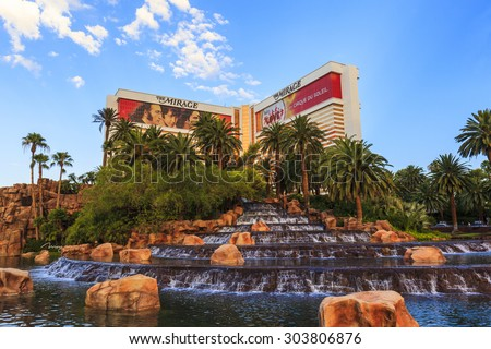 LAS VEGAS, NEVADA  USA - MAY 29 2015: The Mirage hotel  is a luxurious hotel / casino famous with its volcano street show. The Mirage has 3044 rooms the resort built by developer Steve Wynn - stock photo
