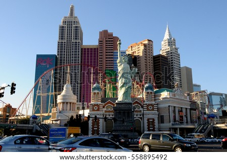 Las Vegas, Nevada, USA - Nov 15, 2011: New York-New York Casino and Hotel architecture facade features many of the New York City icons.