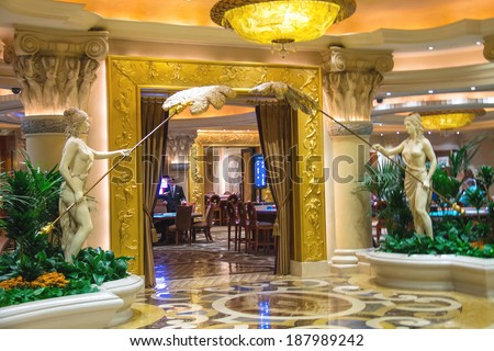 LAS VEGAS, NEVADA, USA - OCTOBER 23, 2013 :Casino in Caesar's Palace in Las Vegas, Caesar's Palace hotel opened in 1966 and has a Roman Empire theme.  - stock photo