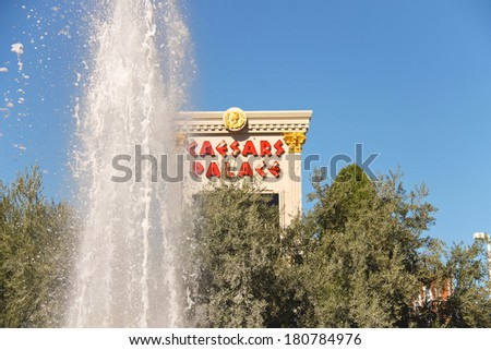 LAS VEGAS, NEVADA, USA - OCTOBER 21, 2013 : Fountain in Caesar's Palace in Las Vegas, Caesar's Palace hotel opened in 1966 and has a Roman Empire theme.  - stock photo