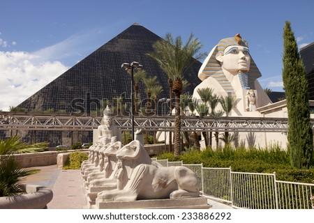 Las Vegas, Nevada, USA - Sept. 20, 2014: Egyptian pyramid shaped Luxor Hotel and Casino located on the southern end of Las Vegas Blvd in Las Vegas, Nevada, USA on Sept. 20, 2014 - stock photo