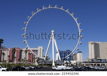 Las Vegas, Nevada, USA - Sept. 22, 2014: The High Roller Ferris Wheel  stands tall 550-foot located in the area known as The LINQ on the Strip in Las Vegas, Nevada, USA - Sept. 22, 2014. - stock photo