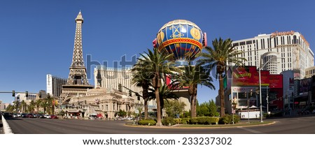Las Vegas, Nevada, USA - Sept 22, 2014: The Paris Hotel and Casino with the iconic Eiffel Tower replica and Montgolfier hot air balloon in Las Vegas, Nevada, USA on Sept 22, 2014.