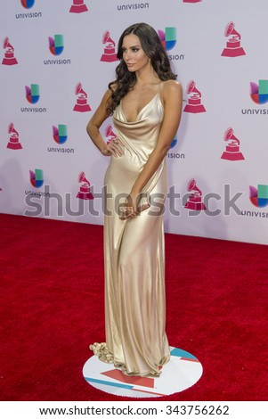 LAS VEGAS , NOV 19 : Actress Genesis Rodriguez attends the 16th Annual Latin GRAMMY Awards on November 19 2015 at the MGM Grand Arena in Las Vegas, Nevada - stock photo